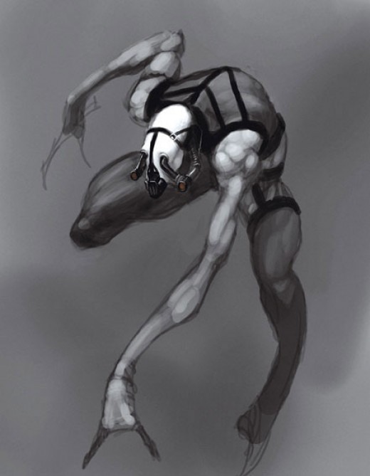 concept art for a Combine alien assassin, an enemy cut from Half-Life 2