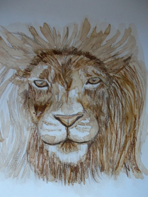 Lion with the colored pencil added to the mane.