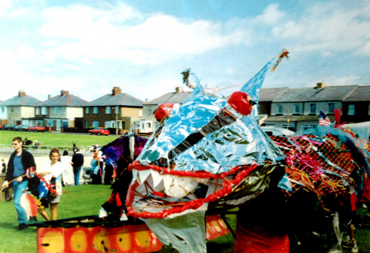 Processional Sea Monster at Amble Seafood Festival, late 90's