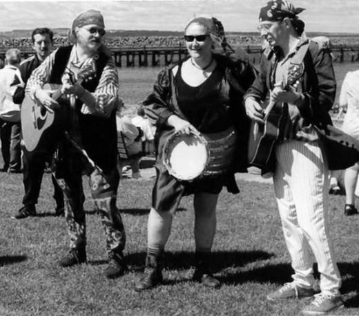 Singing sea shanties at Amble Festival: Pete Shaw, Alison Walton-Robson and Colin Garrow