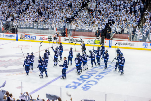 Winnipeg Jets Salute their fans.