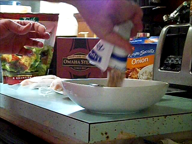 Mixing one package of Lipton Onion Soup Mix with a 1/3 cup of melted butter.  You may need to add some additional water if the marinade appears to be too thick.