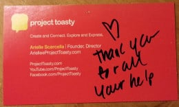 Project Toasty Business Card with Personal Note from Arielle