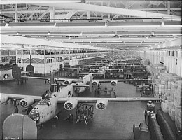 Looking up one of the assembly lines at Ford's big Willow Run plant, where B-24E (Liberator) bombers were made in great numbers.
