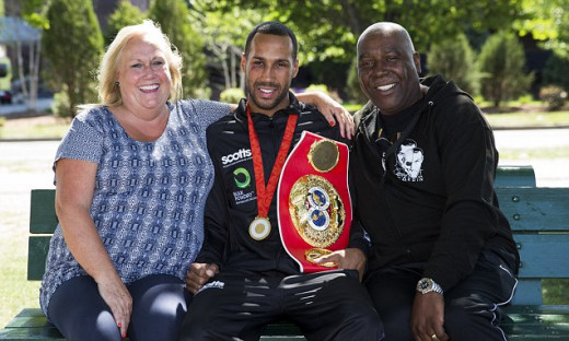 James DeGale with his mum & dad.