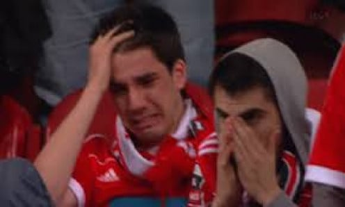 This poor guy can't hold back his sobs after a particularly heart-wrenching loss