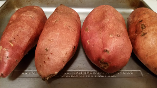 Bake sweet potatoes until fork tender. Allow them to cool while you get the rest of the ingredients together.