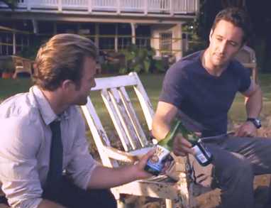 """McGarrett and ""Williams,"" of ""Five-O"" enjoy more ""cold ones."""