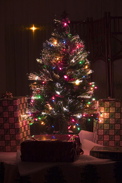 An artificial Christmas tree with both conventional and fiber-optic lights. Photo by Sean O'Flaherty aka Seano1