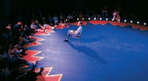 1990 rehearsal for LE CIRQUE RÉINVENTÉ. Photo: Jean-François Leblanc