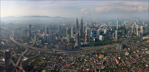 Panoramic view of the Petronas Towers in Kuala Lumpur, Malaysia