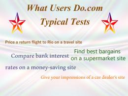 Typical website testing tasks