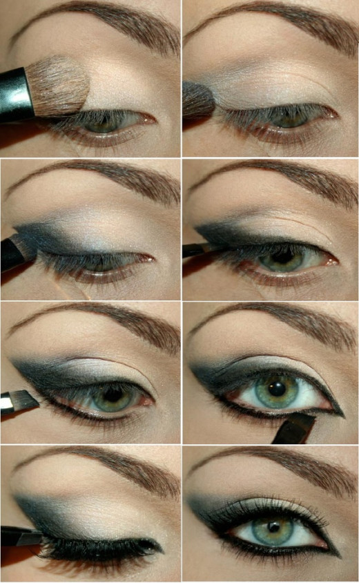 Step by step description of the application of eye shadow