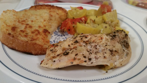 Tender, juicy chicken breast, with summer veggies and a side of garlic cheese toast