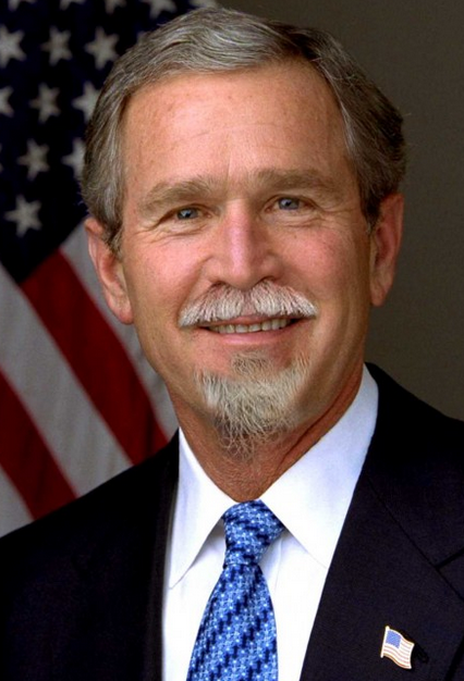 George W. Bush with a mustache and beard!