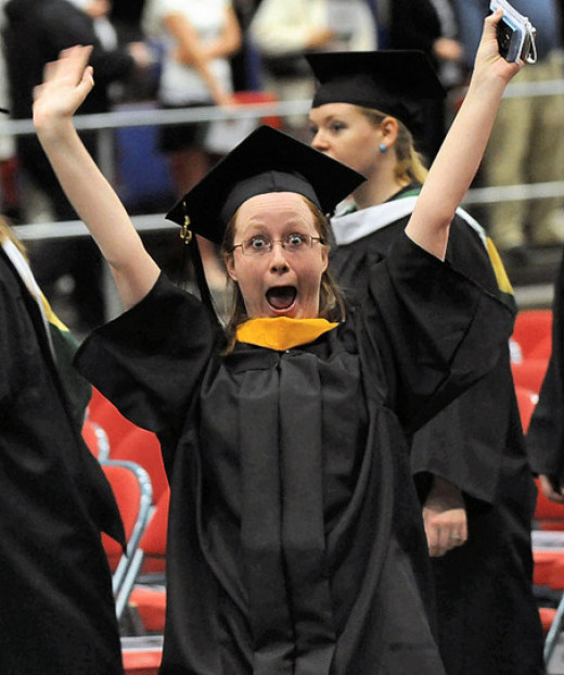 "This graduate is now screaming, ""At last! At last!"""