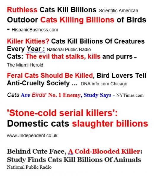 Inflamatory headlines about killer cats