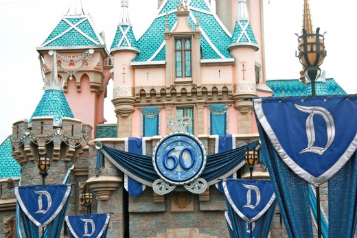 Sleeping Beauty's Castle decorated for the Diamond Celebration.