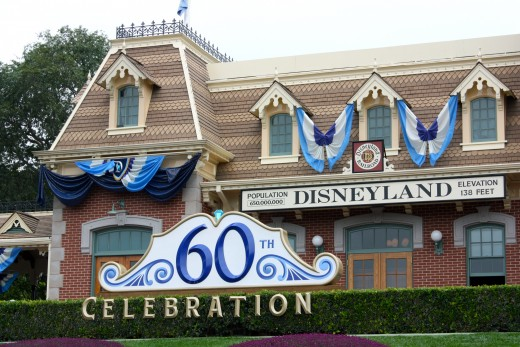 Disneyland Main Street Train Station decorated for the Diamond Celebration.