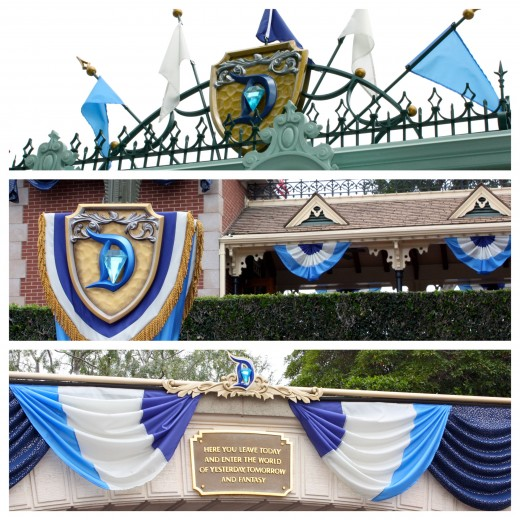 Disneyland entrance Diamond Celebration decorations.