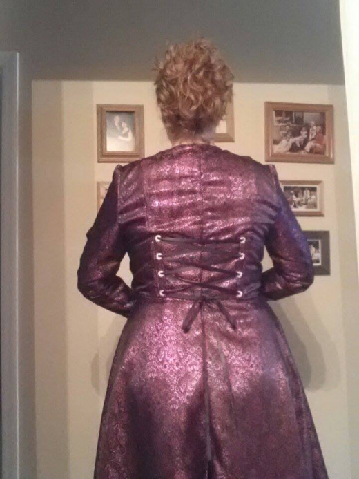 View of the back with the grommet laced pieces.