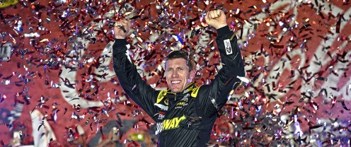 Carl Edwards and the checkered flag are old friends.