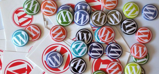 WordPress gives away swag at conventions - pins and stickers