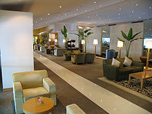 The Malaysian Airlines Golden Lounge at Kuala Lumpur International Airport in Malaysia