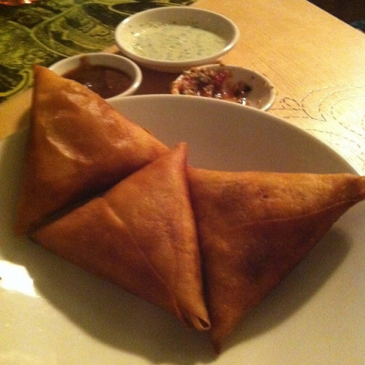 Chicken Mincemeat Samosas served with sauces