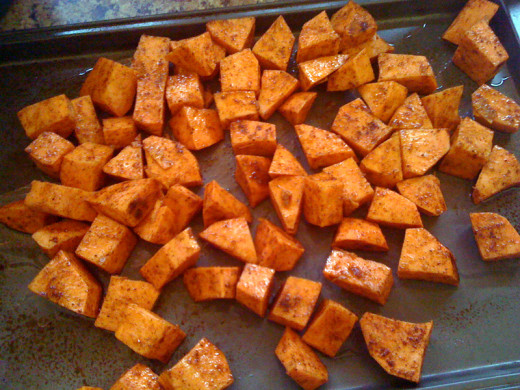 Arrange the sweet potatoes in a single layer on the prepared baking sheet. Drizzle with 1 1/2 teaspoons olive oil and sprinkle with brown sugar, salt, and pepper. Toss until evenly coated. bake for 20-25 minutes, until the sweet potatoes are fork ten
