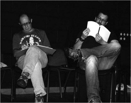 Colin Garrow and Graham McConnell in rehearsals of No Phones on Planet Pluto