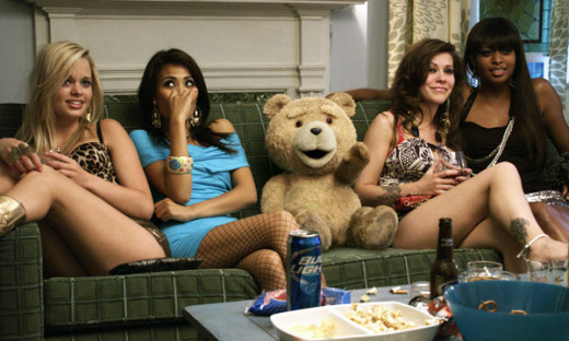 Ted gets comfy with the ladies...