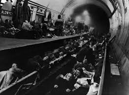 People using London Underground for protection during air raids of world war 2.
