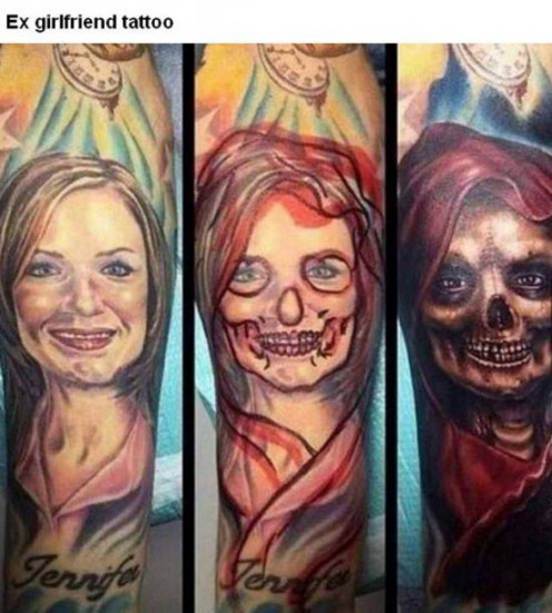 Tattoo work by a guy whose girlfriend left him.