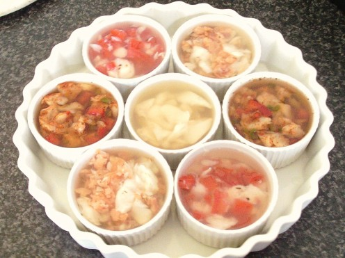 Jellied and potted Atlantic cod with a tasty variety of flavour enhancements