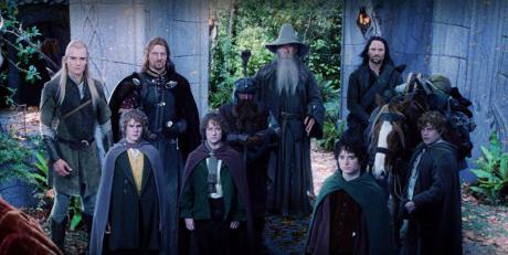 The Fellowship - (from the left) Orlando Bloom, Dominic Monaghan, Sean Bean, Billy Boyd, John Rhys-Davies, Ian McKellen, Elijah Wood, Viggo Mortensen and Sean Astin