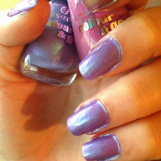 Shimmery lavender polish on nails.