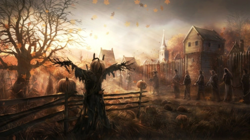 A scary, foggy scene that accompanies horror movies.