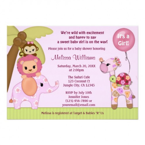 Sweet Safari Baby Shower Invitation