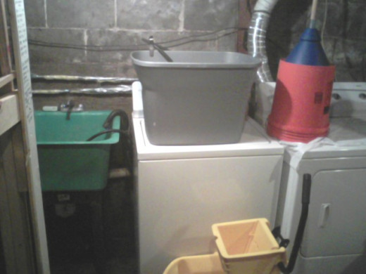 Laundry tub, plunger, gray water pail & mop bucket