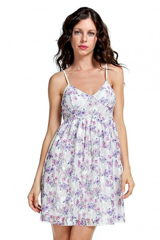 Floral Design Ribbon Back Detailed V-neck Mini Babydoll Dress