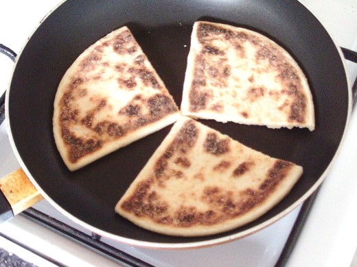 Tattie scones are added to hot, dry frying-pan