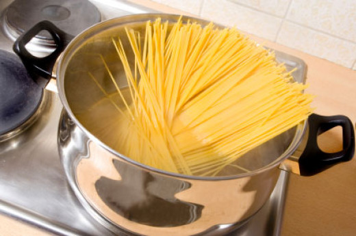 Add linguine to a pan and put to boil.