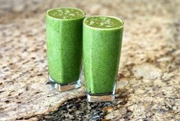 A more healthy energy drink option is made at home in the blender, using a mixture of fresh fruits and vegetables.