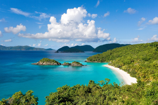 The Virgin Islands: imagine wearing heavy sweatshirts and wool socks here.