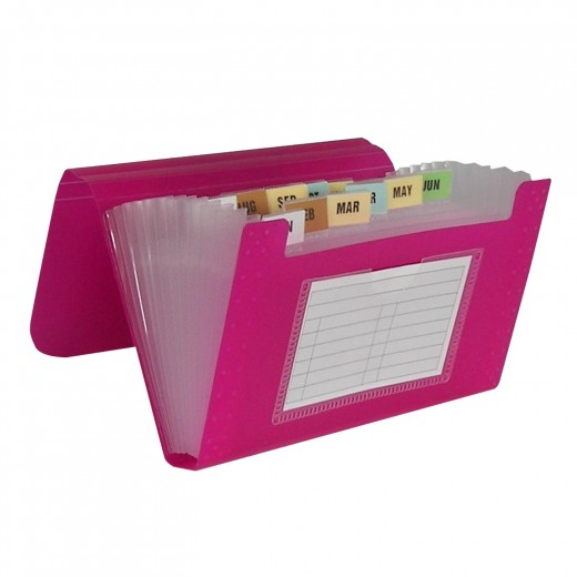 The C-Line 13-Pocket Biodegradable Expanding File is available in a variety of colors, including: colors include blue, aqua, purple, pink, and smoke.  It is constructed from an eco-friendly polypropylene that biodegrades after it is discarded.