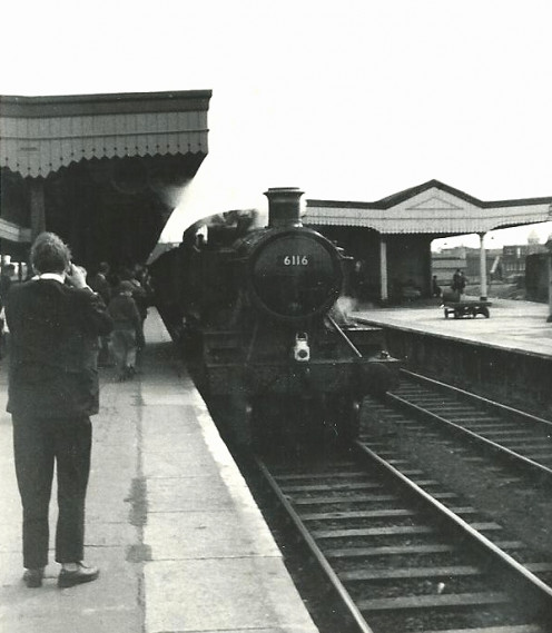 "GWR Collett ""61xx"" Class 2-6-2T No.6116 on the ""Y Glyn Crwydryn"" (""Valley Wanderer"") special at the end of its journey on the last leg of the tour from Swansea (High St), Summer 1965."
