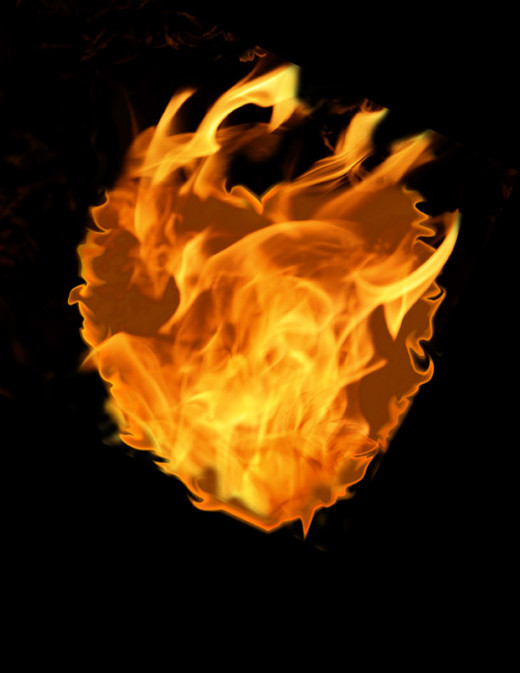 The heart of fire is created the same way as the text using the Liquefy tool and a few photos of flames layered on top.