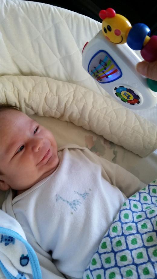 My son enjoying his tunes.
