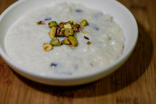 Rice Kheer served with nuts
